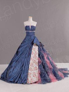 カラードレス Aライン 花モチーフ ビスチェ タフタ オーガンジー ネイビーブルー リボン JP0128 価格 ¥88,992