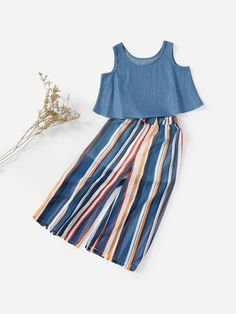Shop Girls Crop Vest With Striped Wide Leg Pants online. SHEIN offers Girls Crop Vest With Striped Wide Leg Pants & more to fit your fashionable needs. Baby Dress Design, Frock Design, Kids Dress Wear, Little Girl Dresses, Kids Outfits, Cute Outfits, Baby Frocks Designs, Baby Girl Dress Patterns, Girl Fashion