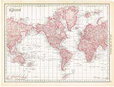 Free Printable Antique World Maps of the World & ALL 50 States! from Knick Of Time @ KnickofTime.net