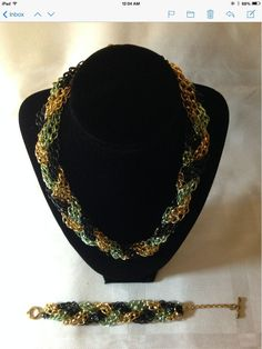 Red green and gold braided chain and bracelet set $30.00
