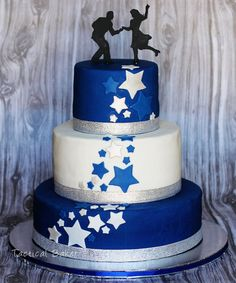Royal Blue Star Dancing Cake