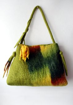 Felted bag with yellow tulip via Etsy.