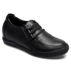 Black Soft Cow Leather Insole Height Increase Casual Shoes