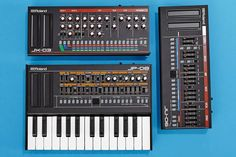 KEY PLAYERS | Clockwise from top: Roland JX-03, JU-06 and JP-08 sound modules, the latter...