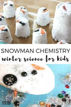 Fun winter chemistry activity for kids with a baking soda snowman science experiment. Our snowman baking soda science activity is perfect for checking out the chemical reaction between baking soda and vinegar or an acid and a base. Kids love novelty exper