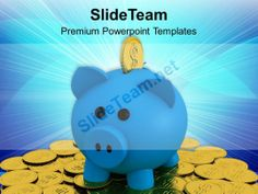 Piggy Bank On Pile Of Coins Business Powerpoint Templates Ppt Themes And Graphics #PowerPoint #Templates #Themes #Background