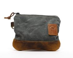 Golf Bag Pouch Waxed Canvas Zippered Golf Valuables Field Pouch in Charcoal Gray personalized monogrammed Denim Tote Bags, Large Purses, Pencil Pouch, Waxed Canvas, Little Bag, Embossed Logo, Toiletry Bag, Vegetable Tanned Leather, Golf Bags