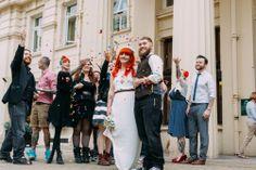 My unruly Brighton Wedding on Brighton Beach with a powder paint fight, BMX and smoke-bombs. {Click through for full blog} Rachel and Steve's Wedding © Anna Pumer Photography Alternative Wedding Photography www.annapumerphotography.com