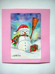 Christmas art card snowman card christmas card by VeselinaArt