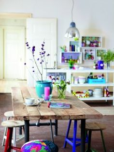 colourful dining space farmhouse table scrap-book-spaces: House doctor via Decor 8 Style At Home, Room Inspiration, Interior Inspiration, Kitchen Inspiration, Deco Boheme Chic, Boho Chic, Hippie Chic, Shabby Chic, Interior Design Blogs