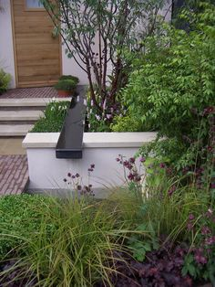 water feature with trough