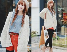 Hair, beanie, sweater