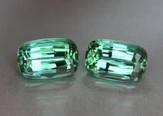 Matching Pair Teal Green Tourmaline - Cushion 6.7ct - Near Loupe Clean gems.