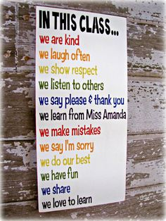 A colourful, community-centric list of expectations for classroom interaction.