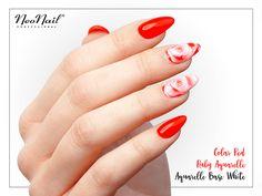 Walentynkowe paznokcie hybrydowe / Czerwone / Aquarelle / NeoNail