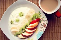 cottage cheese, banana, kiwi, red apple and cup of sugar free coffee with non-fat milk
