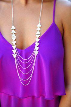 traingle multi chain silver necklace #boho