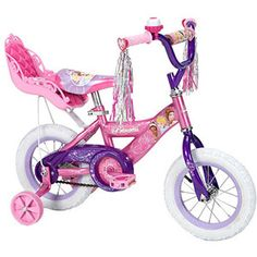 "Lizzie wants this bike so bad - 12"" Huffy Disney Princess Girls' Bike with Doll Carrier"