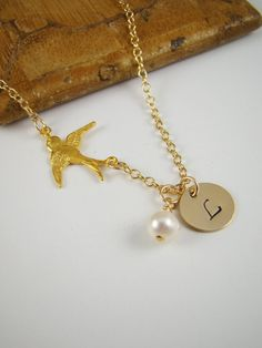4 Gold Pearl Bridesmaids Swallow Bird Initial Necklaces by ShinyLittleBlessings, $128.00