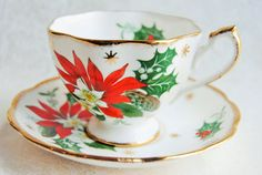QUEEN ANNE Noel Vintage Bone China Tea Cup and by HoneyandBumble