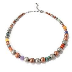 "Elements by Sarkash Silver-tone 19"" Multi Gemstone Graduated Bead Necklace"