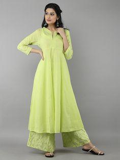 Parrot Green Mulmul Kurta and Ijar with Georgette Dupatta - Set of 3 Pakistani Dresses, Indian Dresses, Indian Outfits, Simple Dresses, Casual Dresses, Fashion Dresses, Kurta Designs Women, Blouse Designs, Indian Designer Suits