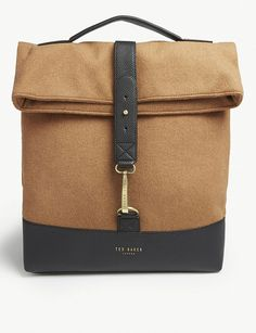 Ted Baker Cashed Roll Down Wool Camel   Grey Backpack MSRP  289 Free  Shipping  fashion f9b5612c4c78b