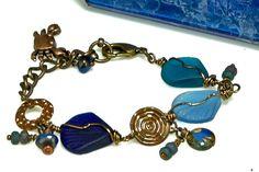 True Blue 3 Shells Cultured Sea Glass OOAK Bracelet by enlalumiere, $34.00