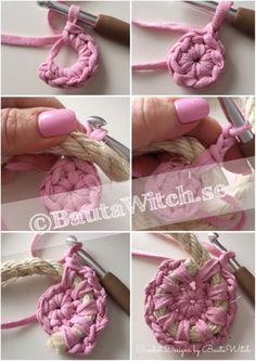 Beginning Crochet DIY - crochet storage basket of rope and recycling yarn Crochet Storage, Crochet Diy, Crochet Rope, Crochet Crafts, Crochet Stitches, Crochet Projects, Yarn Storage, Diy Crafts, Crochet Basket Pattern