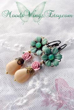 Paris in the Spring  pastel flowers earrings with by MoodsWingz