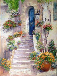 Oil painting / Картина маслом Южный дворик - бежевый, средиземноморский стиль, средиземноморье, уют, красивый подарок