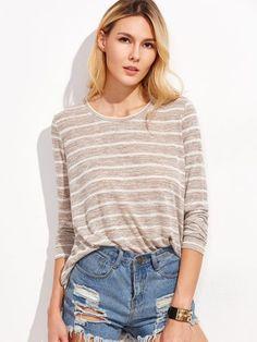 Khaki Marled Knit Striped T-shirt