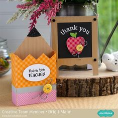 "Brigit's Scraps ""Where Scraps Become Treasures"": Teacher Thank You Cards - Lori Whitlock Creative Team Project Teachers Day Card, Teacher Thank You Cards, Diy And Crafts, Crafts For Kids, Paper Crafts, Teacher Appreciation Gifts, Teacher Gifts, Employee Appreciation, School Gifts"