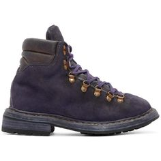 Guidi Purple Suede Hiking Boots (1,375 CAD) ❤ liked on Polyvore featuring  men's fashion