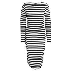 Платье черно-белое в горизонтальную полоску с круглым вырезом, Lindex, где купить: Lindex