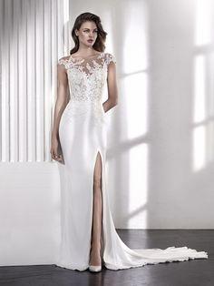LACEY wedding dress illusion neckline