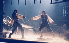 Captain Jack Sparrow Will Turner - Pirates of the Caribbean: The Curse of the Black Pearl Johnny Depp Orlando Bloom Captain Jack Sparrow, Will Turner, Johnny Depp, Images Pirates, Disneyland, On Stranger Tides, Sword Fight, Pirate Life, Elizabeth Swann
