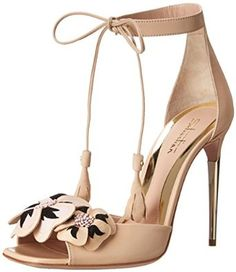 Sebastian S6516 Dress Sandal in Nude Calf/Nude/Black Calf Flowers Embroidery
