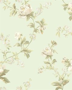 WA7754   Waverly Classics, Green Forever Yours Trail Floral Wallpaper   TotalWallcovering.Com