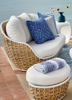 Morning in Santorini. Evoked by a crisp blue-and-white palette and casual wide-weave wicker. Furniture Movers, Furniture Logo, Steel Furniture, Cheap Furniture, Outdoor Furniture, Asian Furniture, Furniture Plans, Outdoor Rooms, Outdoor Sofa