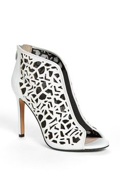 Vince Camuto 'Kalista' Peep Toe Leather Bootie available at #Nordstrom  Black or white?  I can't decide!!  Love VC shoes, he makes them comfortable!