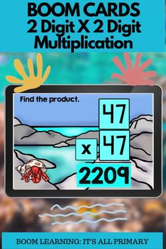 This 2 digit by 2 digit multiplication deck can be used 2 ways! This deck is created with students only having to fill-in-the-blank with their answer. Give your students practice with typing in their answer or with using a calculator with these types of questions. Another deck is coming that will require students to show their work. Boom Cards are perfect for online learning, hybrid learning or home learning. I like to use them for extra practice, challenge work or math centres for my students.