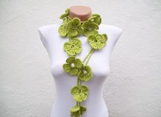 Hand crochet Green Flower Lariat Scarf via Etsy.