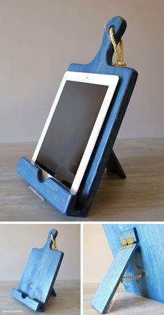 Wood cutting board, iPad holder and cookbook stand all in one! #product_design
