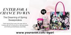 Dreaming of spring?  No purchase necessary! Sign up today! #avon #spring #sweepstakes #online #tote #makeup