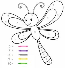 Color by number activities Kids Math Worksheets, Preschool Learning Activities, Free Preschool, Creative Activities, Infant Activities, Kids Learning, Baby Dragonfly, Kindergarten Coloring Pages, Kids And Parenting