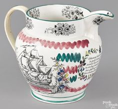 "English pearlware jug, early 19th c., decorated with the Wear bridge, the reverse with a frigate, 6 3/4"" h."
