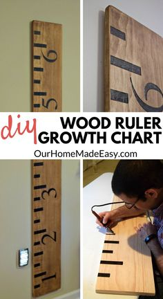 Make your own Wooden Ruler Growth Chart. This tutorial will step you through… Crafts DIY Wooden Ruler Growth Chart