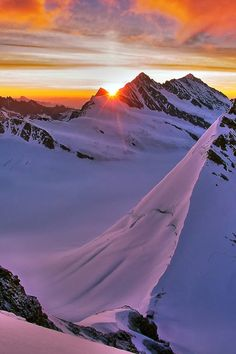 Sunrise above the Mönchjoch enroute to the summit of the Mönch