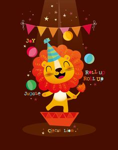 Vector illustration of a circus lion